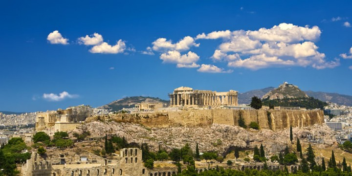 Greece. Athens. Cityscape with the Acropolis of Athens (seen fro